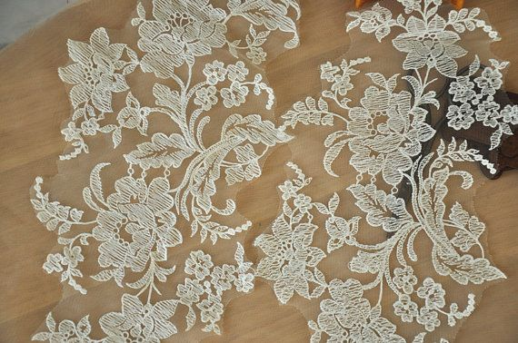 Lace Applique Pair in Ivory for Wedding, Veils, Bridals, Headbands , Gowns