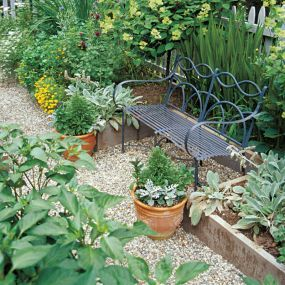 Place to rest: Simple bench in a raised bed garden: French Antique, Outdoor
