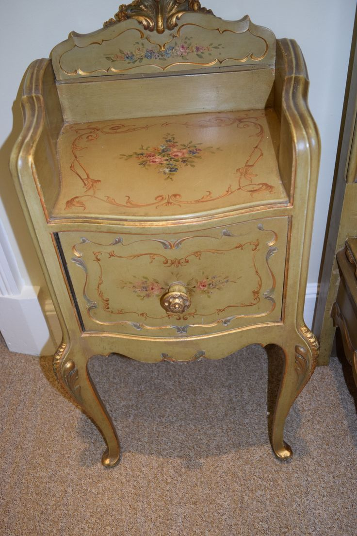This little beauty is one of a pair of Bedside Table/ Pot Cupboards.Genuine Antique Venetian, part of the 8 piece Bedroom Suite for sale at  Chattelier, Burford House, Tenbury Wells WR15 8HQ