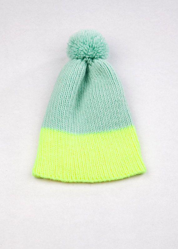 Color Block Rib Beanie Pastel & Neon by WhiteLodgeKnitwear