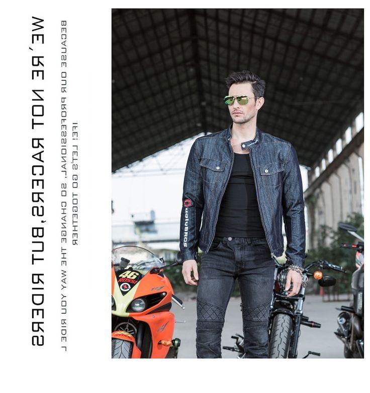 94.40$  Buy now - http://alio9m.worldwells.pw/go.php?t=32787880904 - NEW  Uglybros Ubj03 Giacche Moto Per Gli Uomini Blu Denim Abbigliamento Vintage Harley Giacca di Guida 94.40$