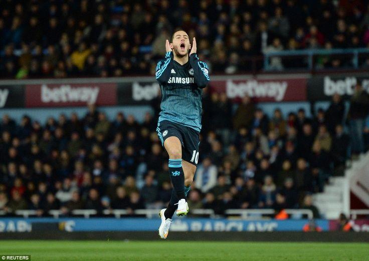 Eden Hazard célèbre son but pour Chelsea. West Ham-Chelsea 0-1 le 04/03/15