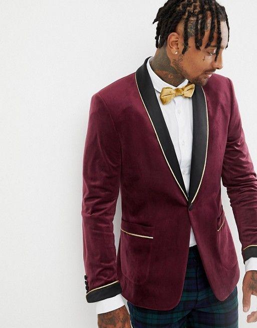4db57a7bc1ea5 DESIGN skinny blazer in burgundy velvet with shawl lapel in 2019 ...