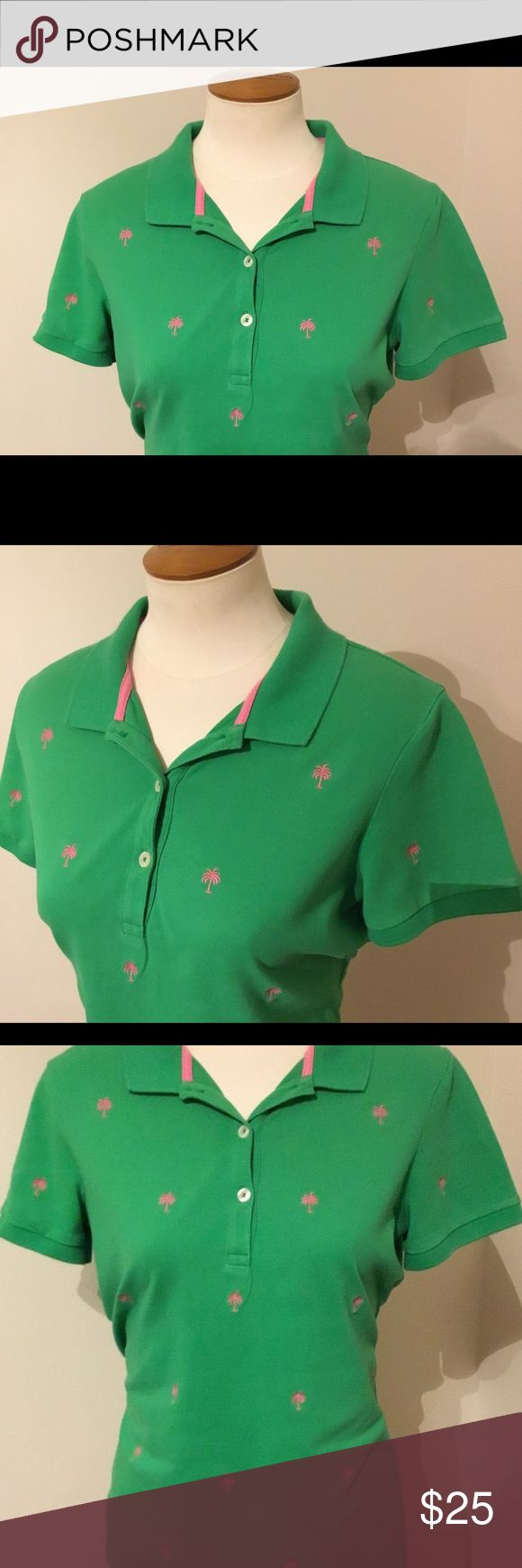 """Lilly Pulitzer Green Polo Shirt Pink Palm Trees M Lilly Pulitzer  Medium  Bust 36"""" Length 24.5"""" Excellent preowned condition Lilly Pulitzer Tops"""