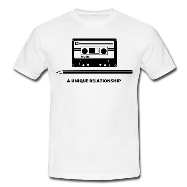 Kassette Stift Tape Pencil Relationship T-skjorte   Spreadshirt   ID: 20701402