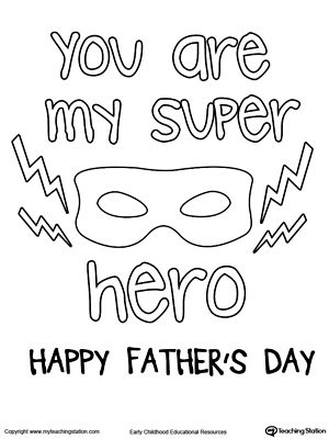 Superhero mask Father's Day coloring page.