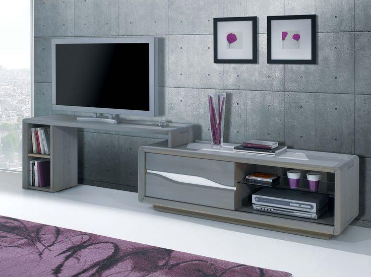 S jour c ram meuble tv 1 porte coulissante 1 niche largeur 145 cm hau - Meuble tv hauteur 70 cm ...