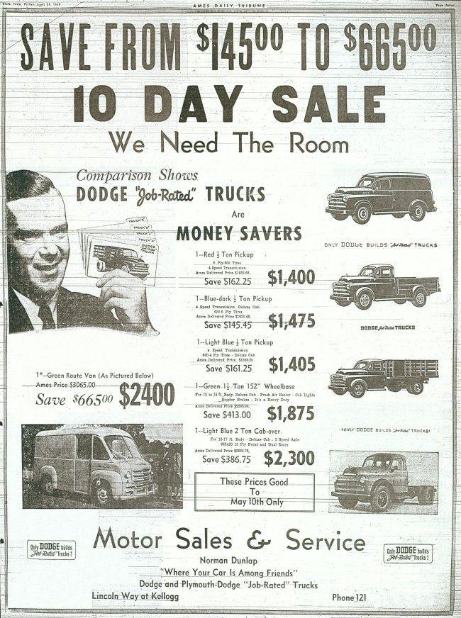 1948-53 Dodge dealership newspaper ad