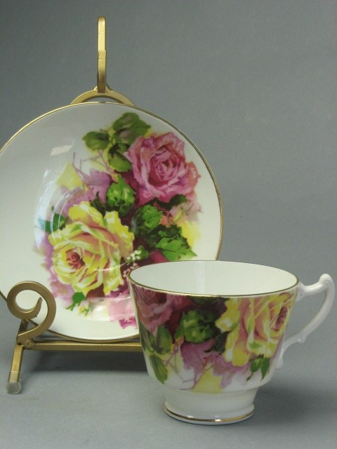 Fabulous Vintage Cup and Saucer by Staffordshire -- England (bone china). via Etsy.