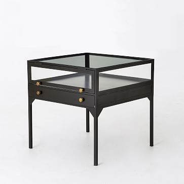 Shadow Box Side Table #westelm/living room end table mixed with round wood one