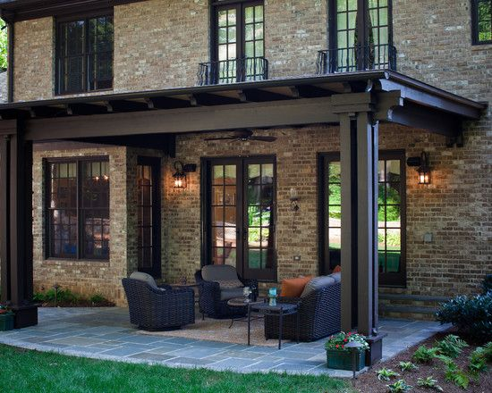 Terrific Pergola Roof Covering Designs : Traditional Exterior Covered Pergola Patio With Hard Top And Brick Wall--the color may be what we need