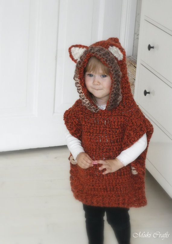 This is a crochet pattern for hooded fox poncho Max. Perfect for a little boy or girl to keep warm and look cute. Work it in gray yarn to make it into