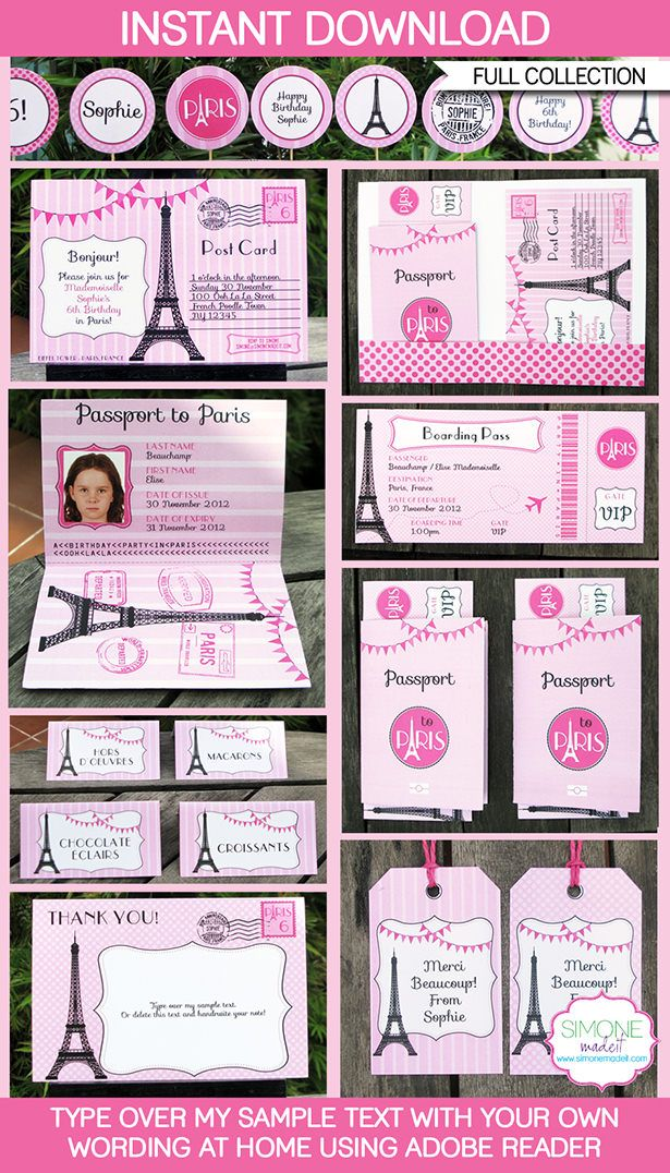 Paris Party Printables, Invitations & Decorations | Birthday Party Theme templates
