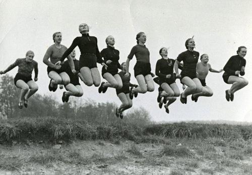photograph of 12 German ladies jumping, circa 1955 / Vintage Movement <3