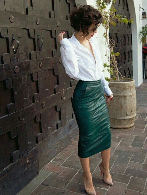 17 Best ideas about Green Leather Skirt on Pinterest | Hobble ...