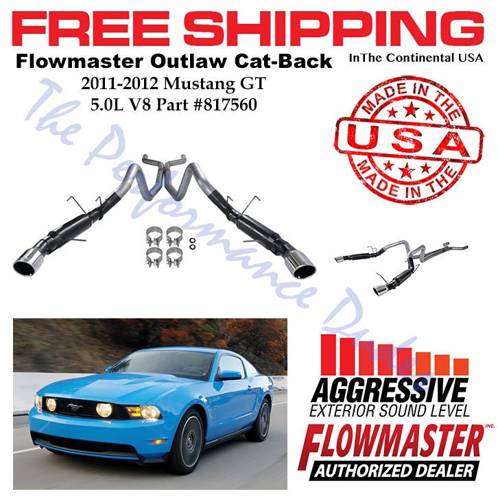 Same Business Day Shipping Flowmaster Outlaw Cat-Back 409 SS fits 2011-2012 Mustang GT 5.0L V8 - 817560