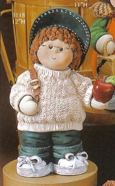 "Button Buddy Boy w/Knapsack Figurine 12"" 3118 Gare ***, Dolls to Make"