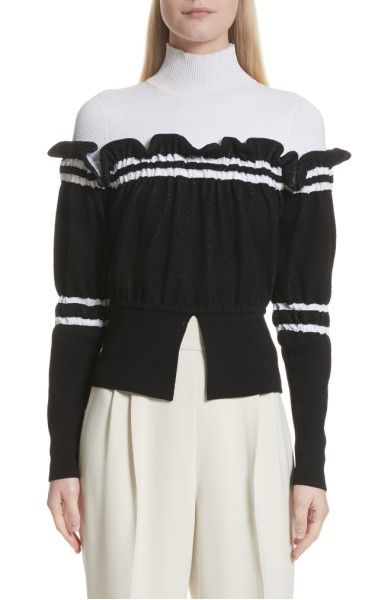 Main Image - 3.1 Phillip Lim Ruffle Overlay Knit Turtleneck
