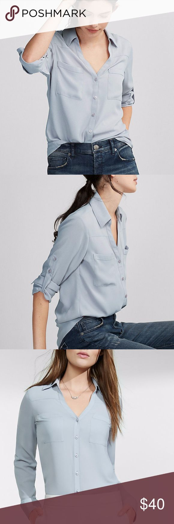 ✨NEW✨ Express Slim Fit Portofino Button Up Shirt 🍃A merger of classic shirt confidence and effortlessly sexy style in luxe, semi-sheer crepe, this slim cut of the best-selling Portofino Shirt is tailored for a modern fit. Tucks perfectly into a pencil skirt or jean. Refinery29 Editor Pick. 🍃Brand New With Tags! 🍃The color is not a light blue, it's closer to gray with a little bit of lavender. ⭐️Reasonable offers will be considered 🚫No lowball offers please! 🙅No trades 💰Bundle and save…