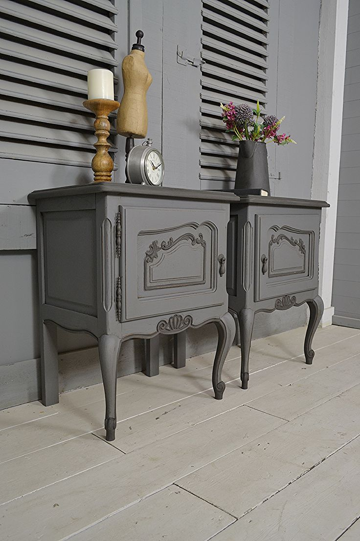 #letstrove This handsome pair of vintage French Bedside Tables will give a sumptuous feel to any bedroom! We've painted in Mylands Leadenhall with Graphite detail. Inside we've used Mylands Mayfair Dark, lightly distressed and aged with dark wax. https://www.thetreasuretrove.co.uk/bedroom-storage/pair-of-vintage-french-shabby-chic-bedside-tables #frenchfurniture #vintagefinds #frenchshabbychic #mylands #shabbychic #frenchhome
