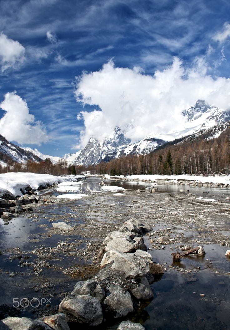 View over the Val Veny - Panorama on Val Ferret, with Dora in the foreground and in the background the Mont Blanc and Val Veny.