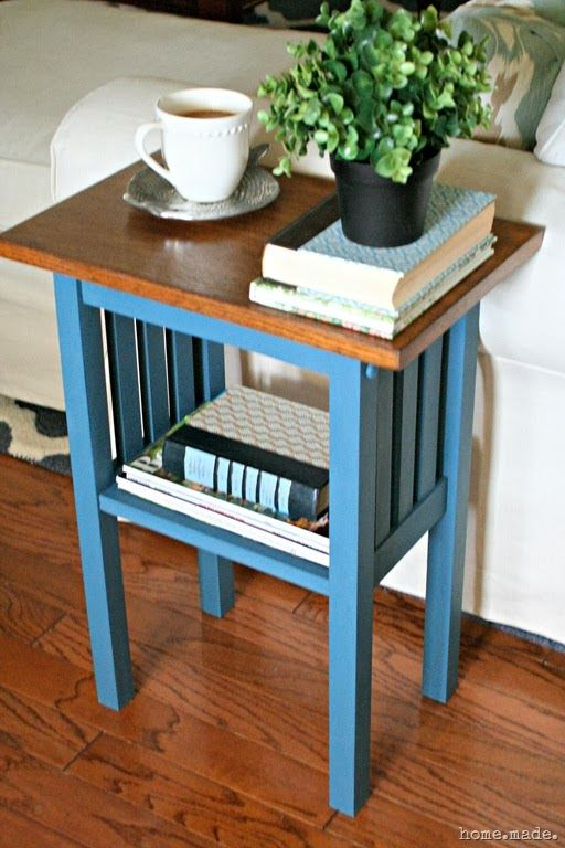 Mission Style End Table Makeover I Like How This Table Hugs The Arm Of The  Sofa