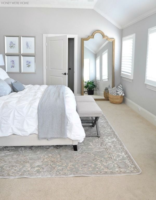 Neutral Master Bedroom | LOVE the huge mirror