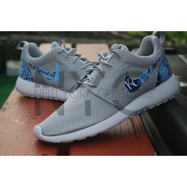 Kansas City Royals Nike Roshe Run One Custom World Series 2015... ($150) ❤ liked on Polyvore featuring shoes, athletic shoes, sneakers & athletic shoes, tie sneakers, unisex adult shoes, white, comic shoes, tie shoes, white shoes and comic book