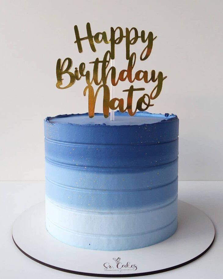 Neon Birthday Cakes, Round Birthday Cakes, Birthday Cake For Husband, Man Birthday, Easy Cake Decorating, Birthday Cake Decorating, Bolos Naked Cake, Simple Birthday Decorations, Dad Cake