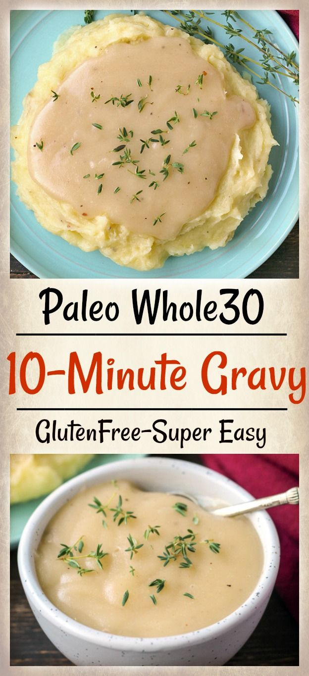 This Paleo Whole30 10 Minute Gravy is so simple and perfect for topping turkey and mashed potatoes. Made with just 4 ingredients and so flavorful. Dairy free, gluten free, and just as delicious as traditional gravy. Low fodmap.