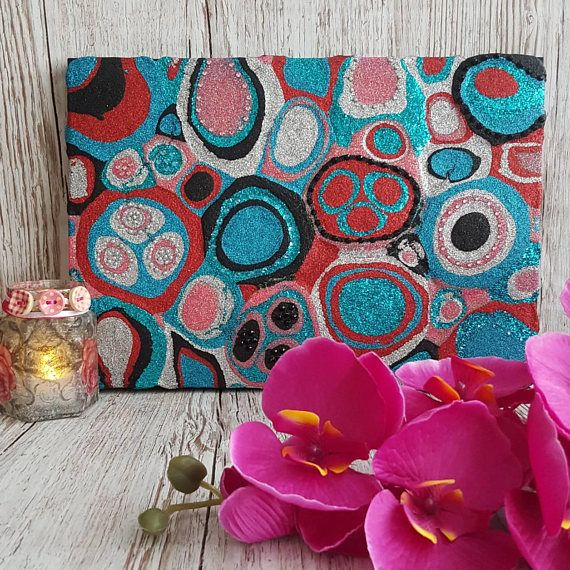 Pink, Red, Teal Glitter Painting Mixed Media Original Abstract Artwork https://www.etsy.com/uk/listing/271921468/pink-red-teal-glitter-painting-mixed