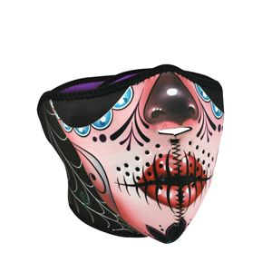www.zanheadgear.com: : Cold Weather Headwear, Half Mask, Neoprene, Sugar Skull Reversible to Purple