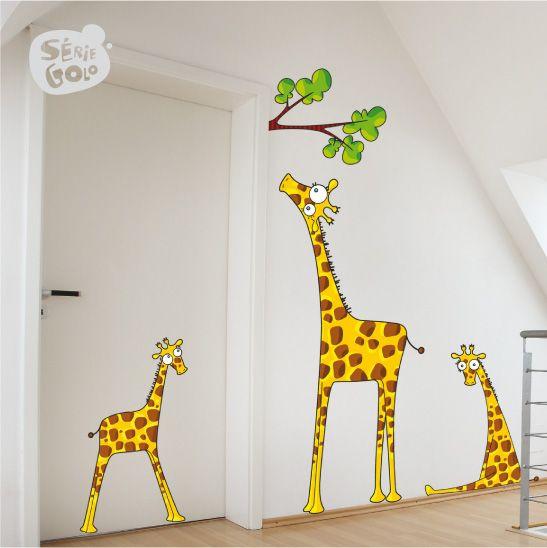 LA GIRAFE ET LES GIRAFONS / Stickers muraux / Wall stickers / Design Série-Golo
