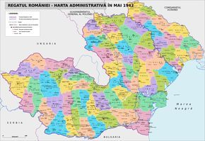 Administrative map of Romania in May 1942