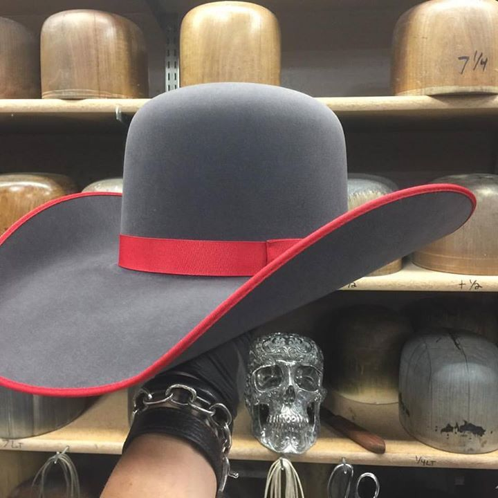Custom Beaver 20 Gunmetal Grey with red bound edge and a red ribbon bow hat band Http://WWW.GREELEYHATWORKS.COM