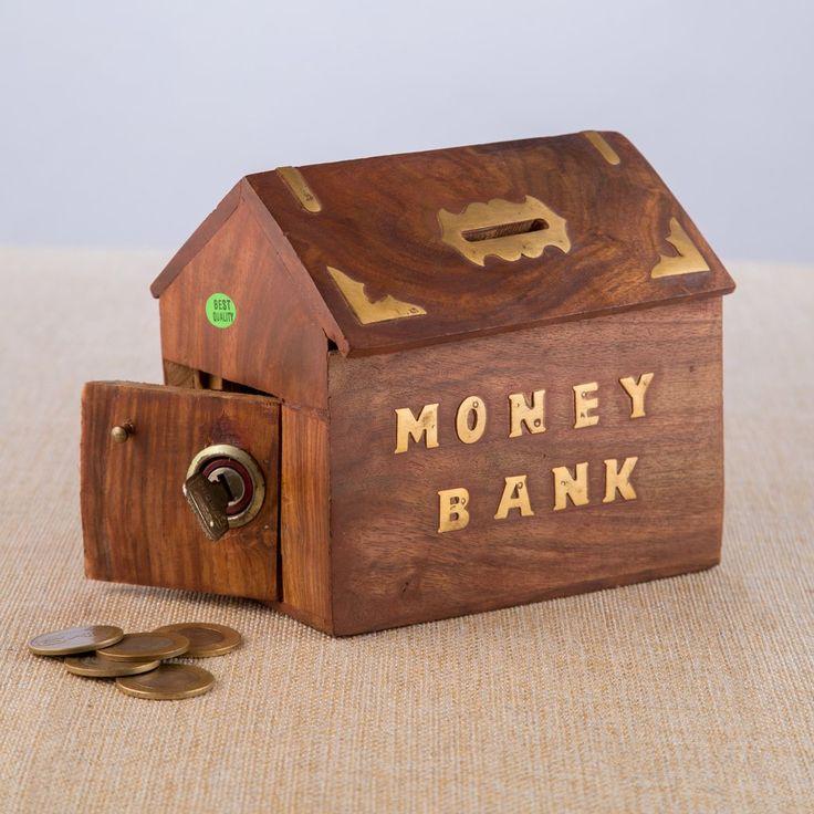 Wooden Coin Bank - Hut