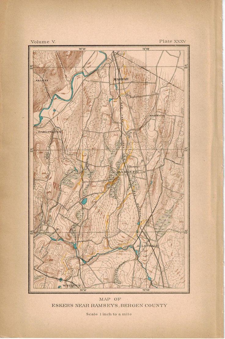 Eskers Near Ramseys Bergen County New Jersey Antique Topographic Map 1902