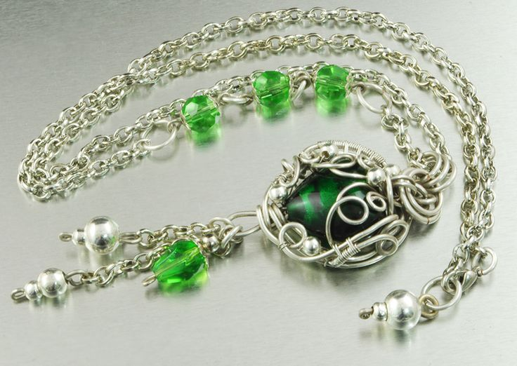 """Gorgeous silver plated pendant, with heart shaped Lampwork in a original silver braid. Beautiful, remarkable pendant, for a woman who likes unique jewelry :) Length of the chain - 56 cm (22.05""""); Pendant diameter is - 10 cm x 6 cm (3.94"""" x 2.36""""); Material: 925 sterling silver plated copper wire ; On request I make a similar pendant in other material - silver, copper, brass, silver-plated copper, bronze. Interested persons are welcomed to contact :)  Looks amazing, especially on your chest…"""