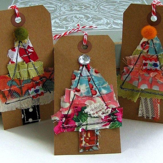 Tissu tissu Scrap Noël étiquettes Etiquettes par tracyBdesigns
