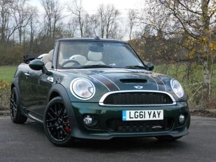 British racing green convertible Mini-Cooper