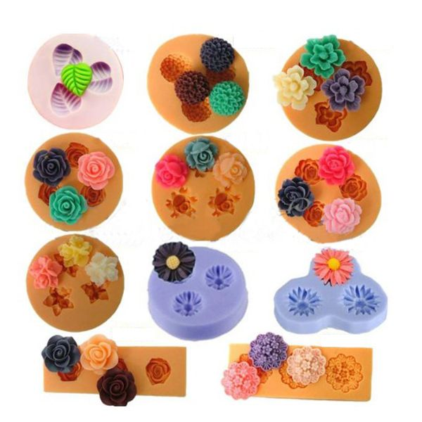 Wholesale Chocolate Jelly 3D Mini Silicone Fondant DIY Flower Cake Mold