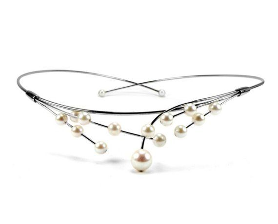 White Cultured Pearls Wire Bridal Necklace by Taormina Designs, $295.00