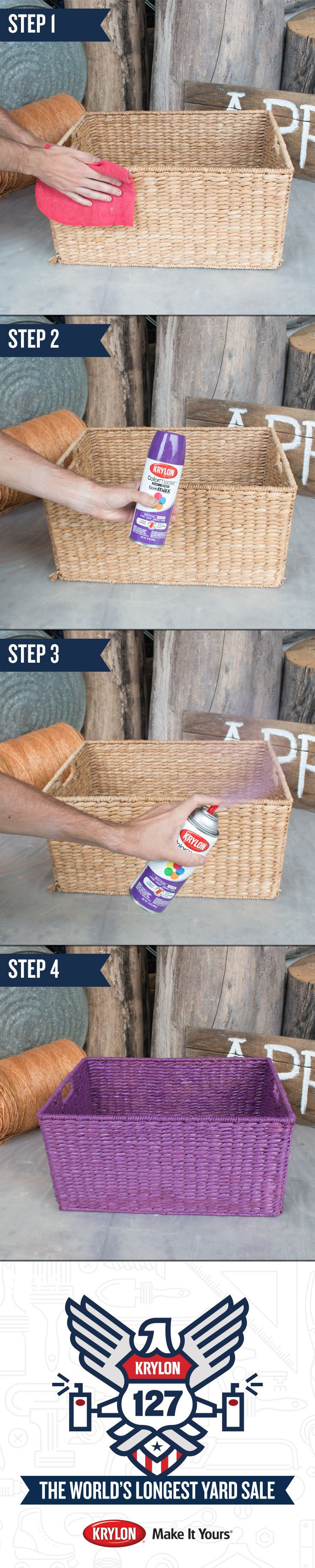 Whip your home into shape when you turn ordinary objects into colorful and functional decorations. Use Krylon ColorMaster Paint + Primer in Rich Plum to get this look. See how with this step-by-step guide: 1) Clean the surface with a damp rag. 2) Shake your can of spray paint vigorously for 2 minutes. 3) Spray light, even coats of paint. 4) You're ready to enjoy! Let this #Krylon127YardSale makeover inspire your next DIY project.