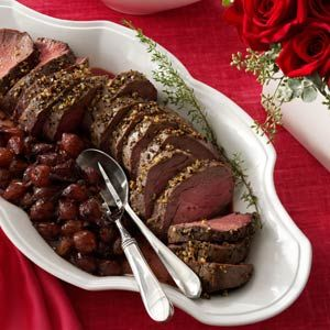 Easy & Elegant Tenderloin Roast ~ 5 pound beef tenderloin roast, 2 tablespoons olive oil, 4 pressed garlic cloves, 2 teaspoons sea salt, 1-1/2 teaspoons coarsely ground pepper~ Place roast on a rack in a shallow roasting pan ~ In a small bowl, mix the oil, garlic, salt and pepper; rub over roast ~ Roast at 425° for 50-70 minutes (or 165 degrees for medium-well)
