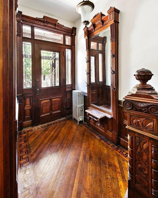 Brooklyn New York brownstone foyer Victorian woodwork