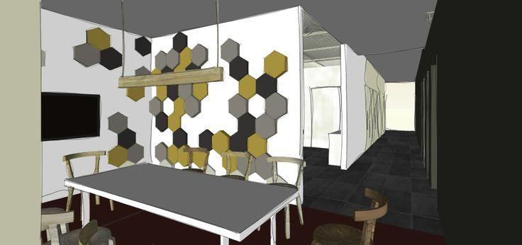 Sala konferencyjna z wykorzystaniem miękkich paneli ściennych Fluffo, Fabryka Miękkich Ścian. Projetk by Zuzanna Róg. http://www.jastaa.pl/