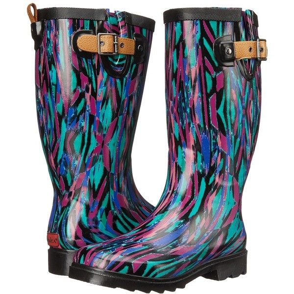 Chooka Paradox Rain Boot Women's Rain Boots (91 CAD) ❤ liked on Polyvore featuring shoes, boots, mid-calf boots, slip on rubber boots, summer boots, lined boots and mid calf rain boots