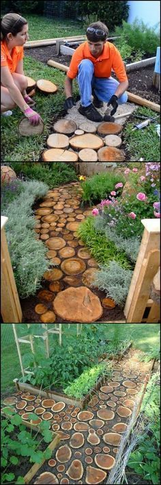 Easy DIY Garden Path :: Made Of Wood Slabs :: Cheap And Stylish Solution For Paths Through The Flower Beds :: #LogWoodProjectsDiy