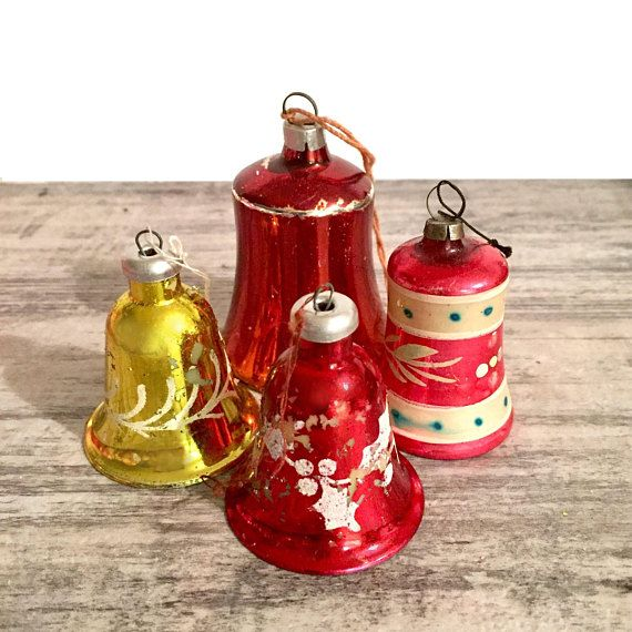 Vintage Bells Ornament Lot Of 4 Christmas Tree Ornament Glass Etsy Vintage Christmas Ornaments Christmas Collectibles Christmas Tree Ornaments