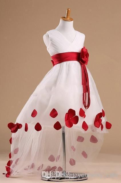 2015 Beautiful Flower Girl Dresses Cheap V Neck Zipper Ruffles with Red Big Flower Sash High Low Tutu Princess Gowns